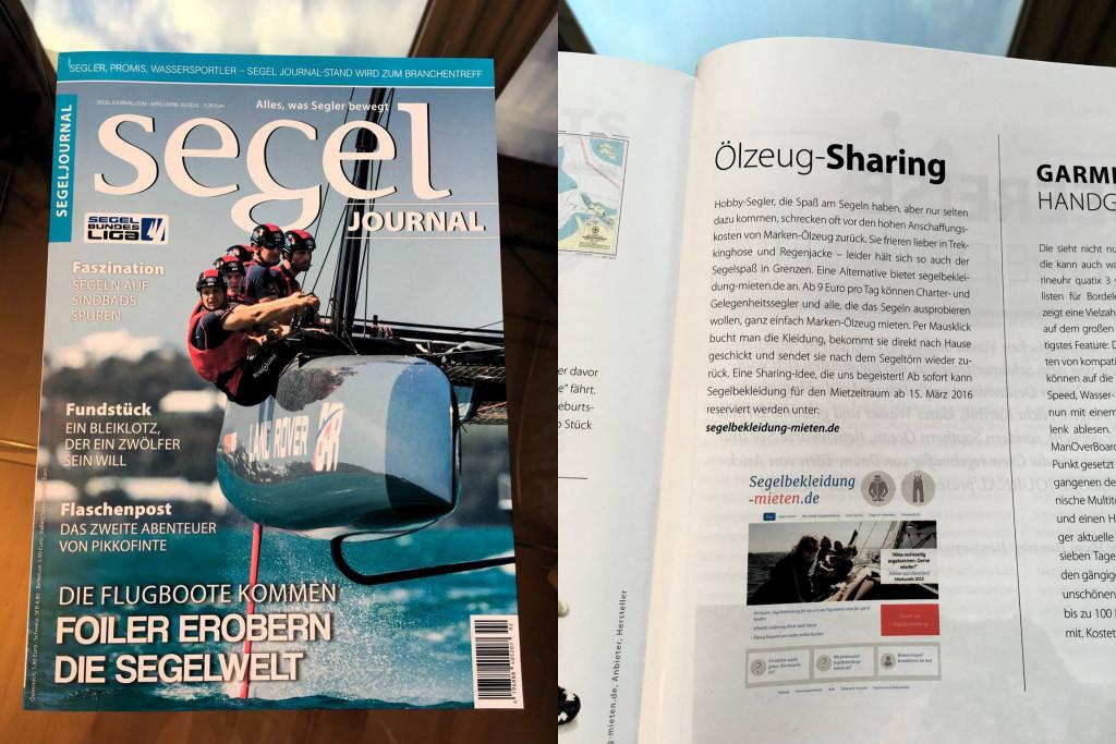 Magazin Segel Journal mit einem Artikel über Segelbekleidung-mieten.de